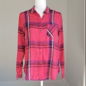American Eagle Plaid Button down shirt M NWT